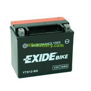 Batería AGM Exide moto YT12B-BS 12V. 10Ah